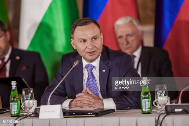 Andrzej Duda the President of Poland in the Three Seas Initiative Summit in Warsaw Poland
