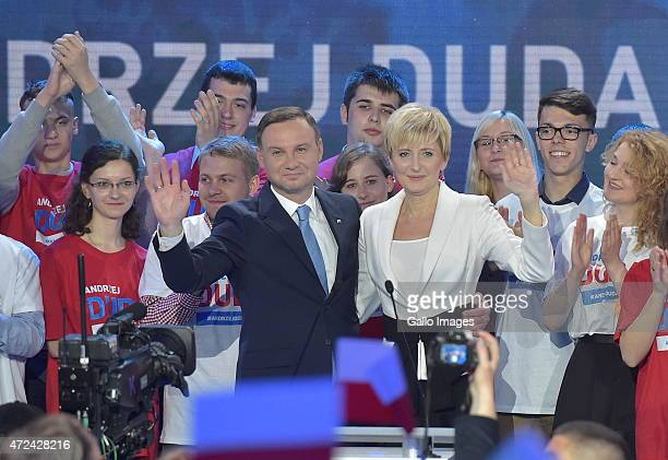 Andrzej Duda with wife Agata at a campaign press conference on May 9 2015 in Warsaw Poland Andrzej Duda is the Law and Justice partys candidate in...