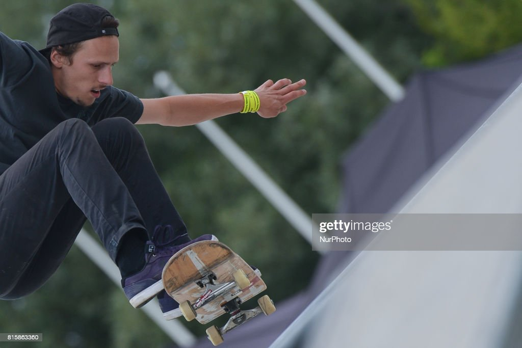 Andrzej Podsiadlo during the final of Skateboarding competition of Carpatia Extreme Festival 2017, in Rzeszow. On Sunday, July 16, 2017, in Rzeszow, Poland.