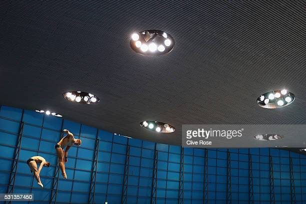Andrzej Rzeszutek and Kacper Lesiak of Poland compete in the Men's 3m Synchro Final on day five of the 33rd LEN European Swimming Championships 2016...