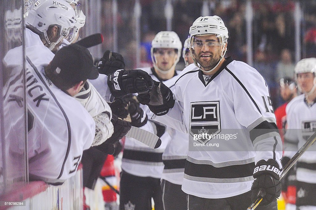 Andy Andreoff #15 of the Los Angeles Kings celebrates after scoring against the Calgary Flames during an NHL game at Scotiabank Saddledome on April 5, 2016 in Calgary, Alberta, Canada.