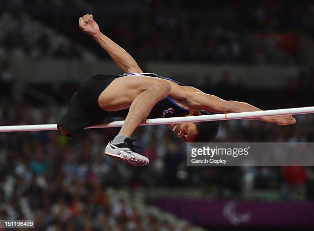 Andy Avellana of Philippines competes in the Men's High Jump F42 Final on day 5 of the London 2012 Paralympic Games at Olympic Stadium on September 3...