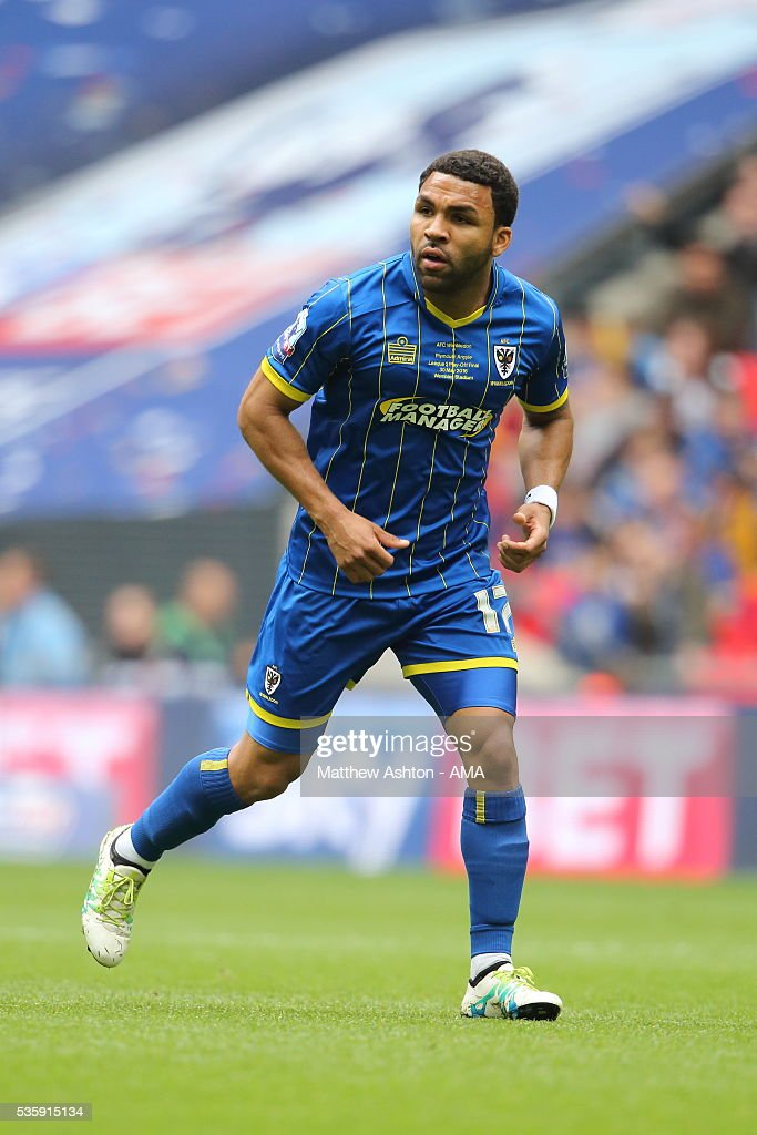 <a gi-track='captionPersonalityLinkClicked' href=/galleries/search?phrase=Andy+Barcham&family=editorial&specificpeople=4008213 ng-click='$event.stopPropagation()'>Andy Barcham</a> of AFC Wimbledon during the Sky Bet League Two Play Off Final between Plymouth Argyle and AFC Wimbledon at Wembley Stadium on May 30, 2016 in London, England.