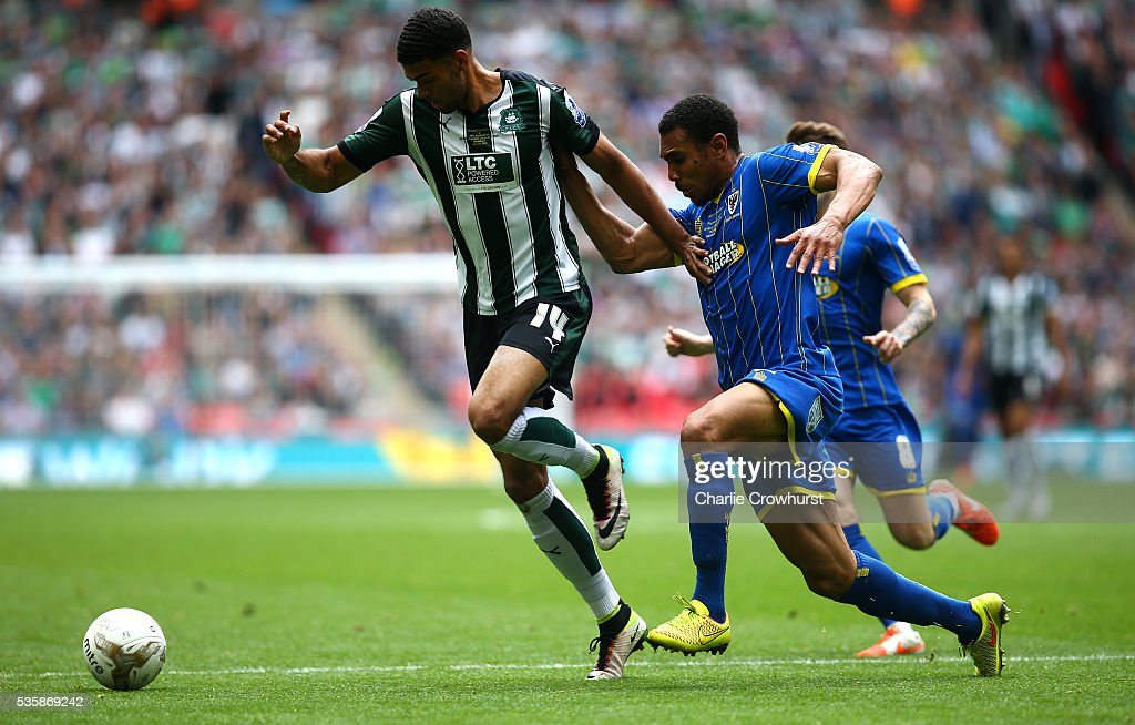 <a gi-track='captionPersonalityLinkClicked' href=/galleries/search?phrase=Andy+Barcham&family=editorial&specificpeople=4008213 ng-click='$event.stopPropagation()'>Andy Barcham</a> (R) of AFC Wimbledon looks to get the ball off Jake Jervis of Plymouth during the Sky Bet League 2 Play Off Final between Plymouth Argyle and AFC Wimbledon at Wembley Stadium on May 30, 2016 in London, England.