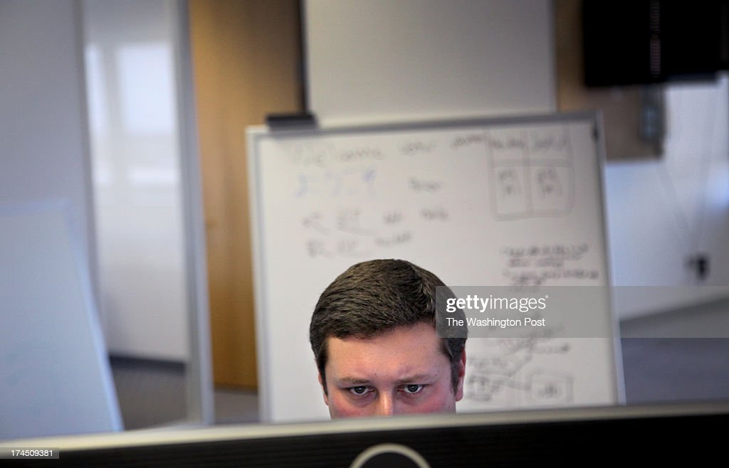 Andy Barkett, a former Facebook software engineer, is the new technology officer for the Republican National Committee. He works at his new offices in San Mateo, Calif., on Thursday, July 25, 2013.