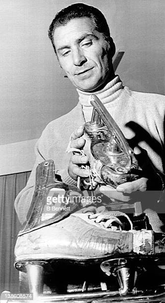Andy Bathgate checks the sharpness on his skates after he was named the new coach of the Vancouver Blazers He replaces Phil Watson who was both coach...