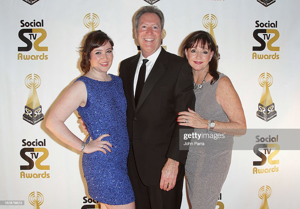 Andy Batkin (center), CEO of Social TV Summit, daughter Samantha Batkin (left), and wife Bridget Batkin and arrive at the 2013 Latin Social TV Awards at Fontainebleau Miami Beach on February 28, 2013 in Miami Beach, Florida.
