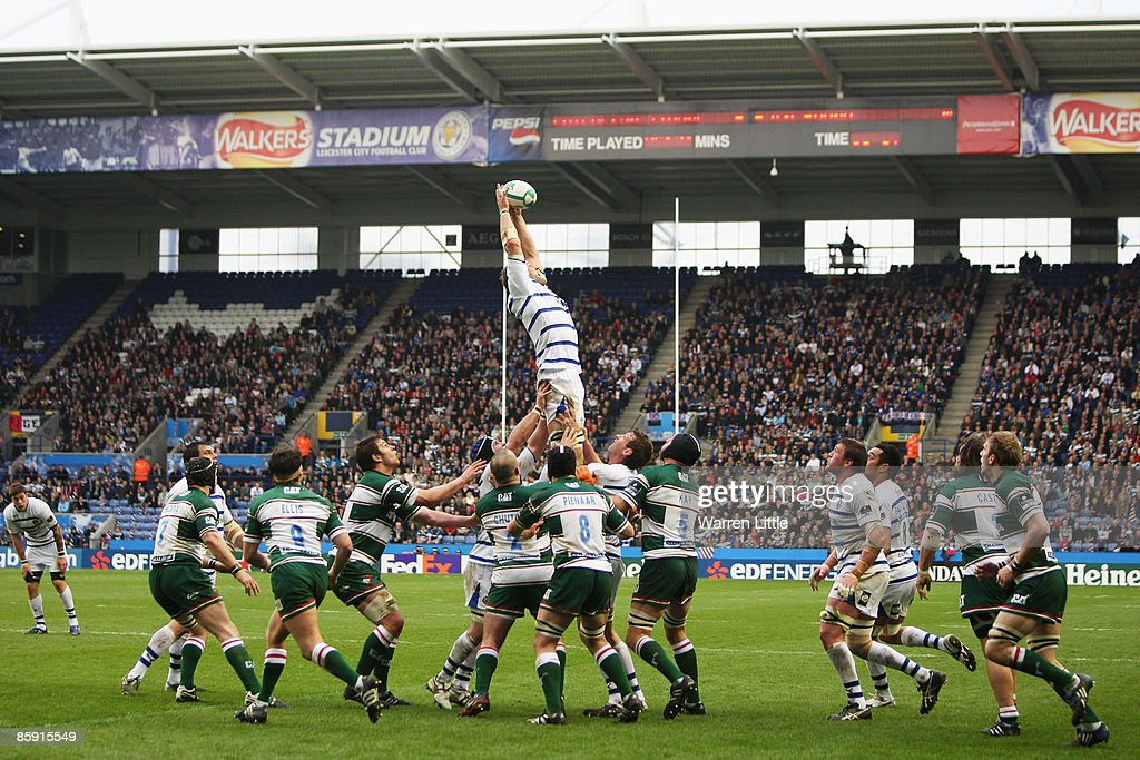 Andy Beattie of Bath jumps for the lineout ball during the Heineken Cup Quarter Final match between Leicester Tigers and Bath at Walkers Stadium on...