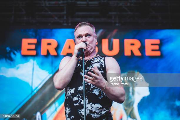 FESTIVAL BAROLO CUNEO ITALY Andy Bell during Erasure perform live on stage in Barolo at the Collisioni Festival opening for Robbie Williams