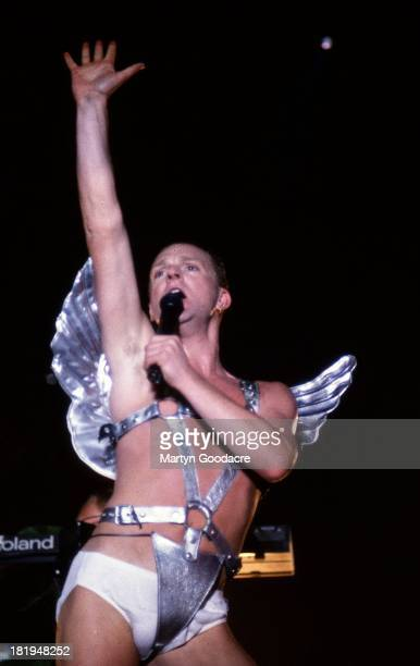 Andy Bell of Erasure performs on stage at Milton Keynes Bowl UK 1990