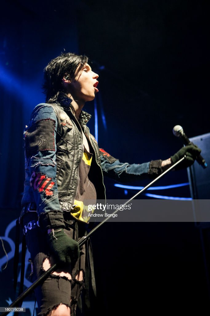 Andy Biersack of Black Veil Brides perform on stage as part of the Kerrang! Tour 2013 at Manchester Academy on February 4, 2013 in Manchester, England.