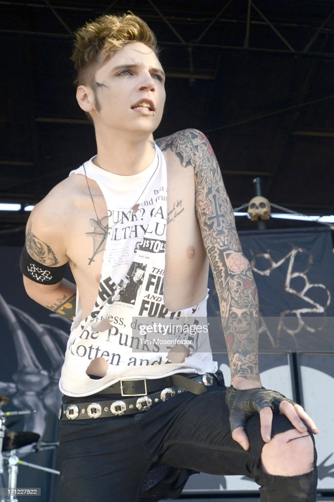 Andy Biersack of Black Veil Brides performs as part of the Vans Warped Tour at Shoreline Amphitheatre on June 22, 2013 in Mountain View, California.