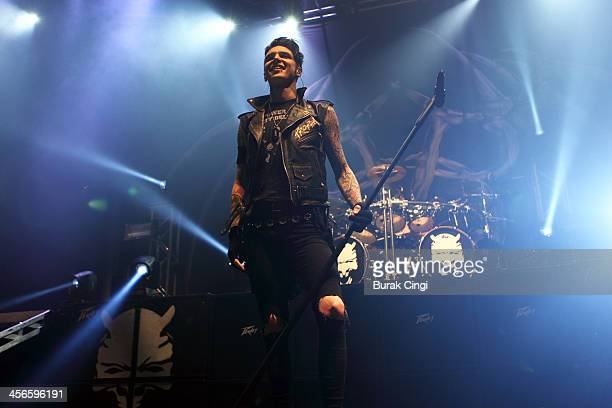 Andy Biersack of Black Veil Brides performs on stage at The Roundhouse on December 14 2013 in London United Kingdom