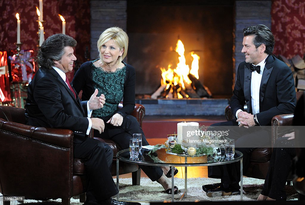 Andy Borg, Carmen Nebel and Thomas Anders attend the 'Heiligabend Mit Carmen Nebel' Show Taping at the Bavaria Studios on November 24, 2012 in Munich, Germany.