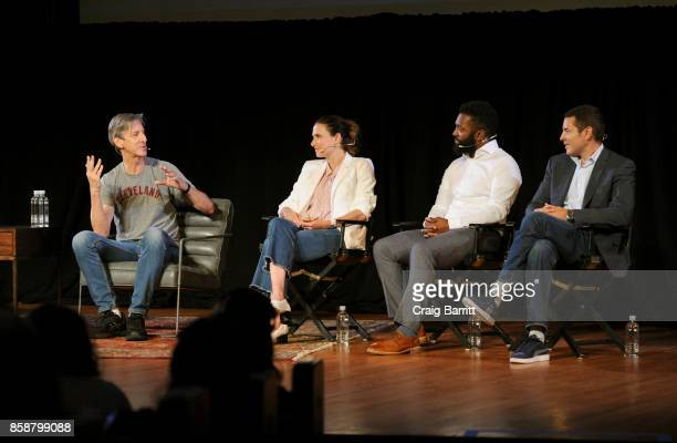 Andy Borowitz Jessi Klein Baratunde Thurston and Dean Obeidallah speak onstage during panel PTSD with Andy Borowitz and Friends at New York Society...