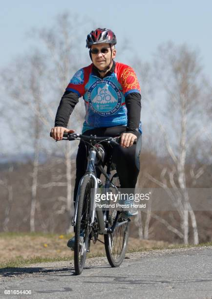 Andy Bourassa prepares for a Trek Across Maine training ride Saturday April 30 2016 near his home in Winslow Maine Bourassa weighed 387lbs before...