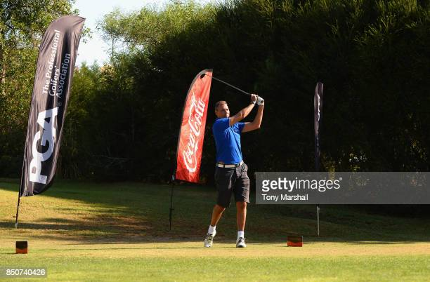 Andy Bowden of Coca Cola plays his first shot on the 1st tee during The Lombard Trophy Final Day One on September 21 2017 in Albufeira Portugal