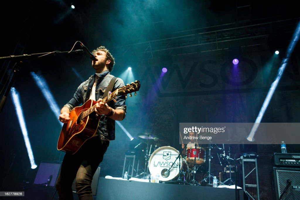 Andy Brown and Adam Pitts of Lawson perform on stage at O2 Academy on February 26, 2013 in Leeds, England.