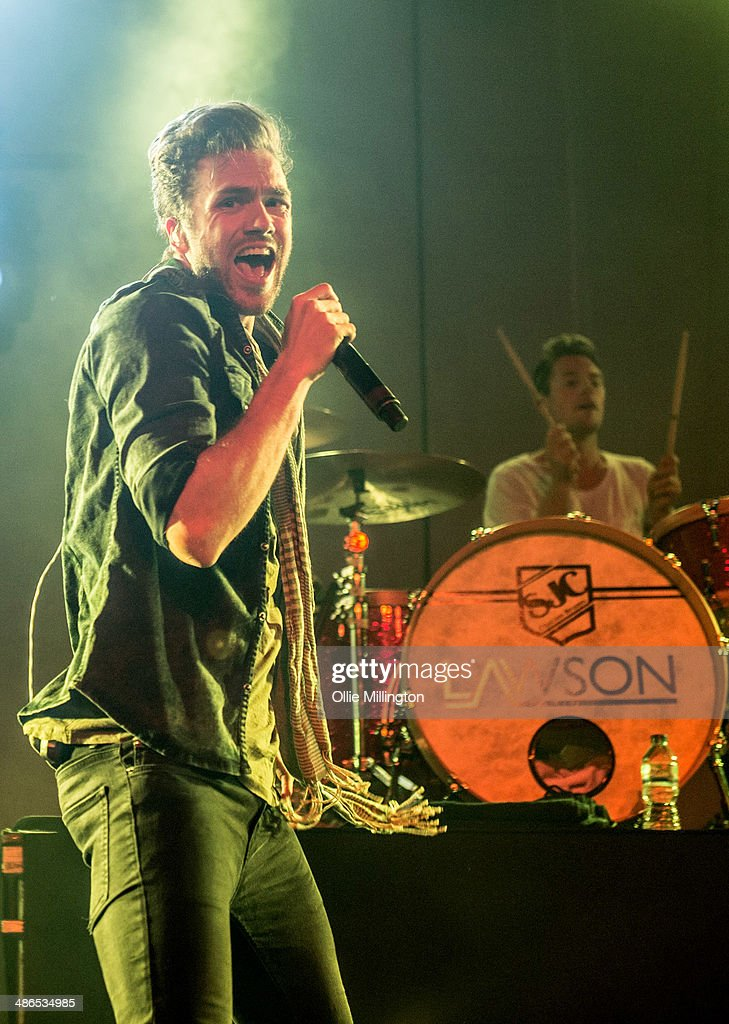 Andy Brown and Adam Pitts of Lawson perform on stage during the music event OMG Live at LG Arena on April 24 2014 in Birmingham United Kingdom