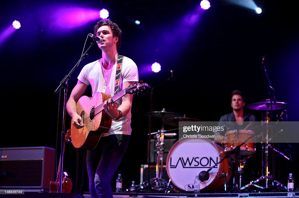 Andy Brown and Adam Pitts of Lawson perform on stage on Day 2 of Hard Rock Calling at Hyde Park on July 14 2012 in London United Kingdom