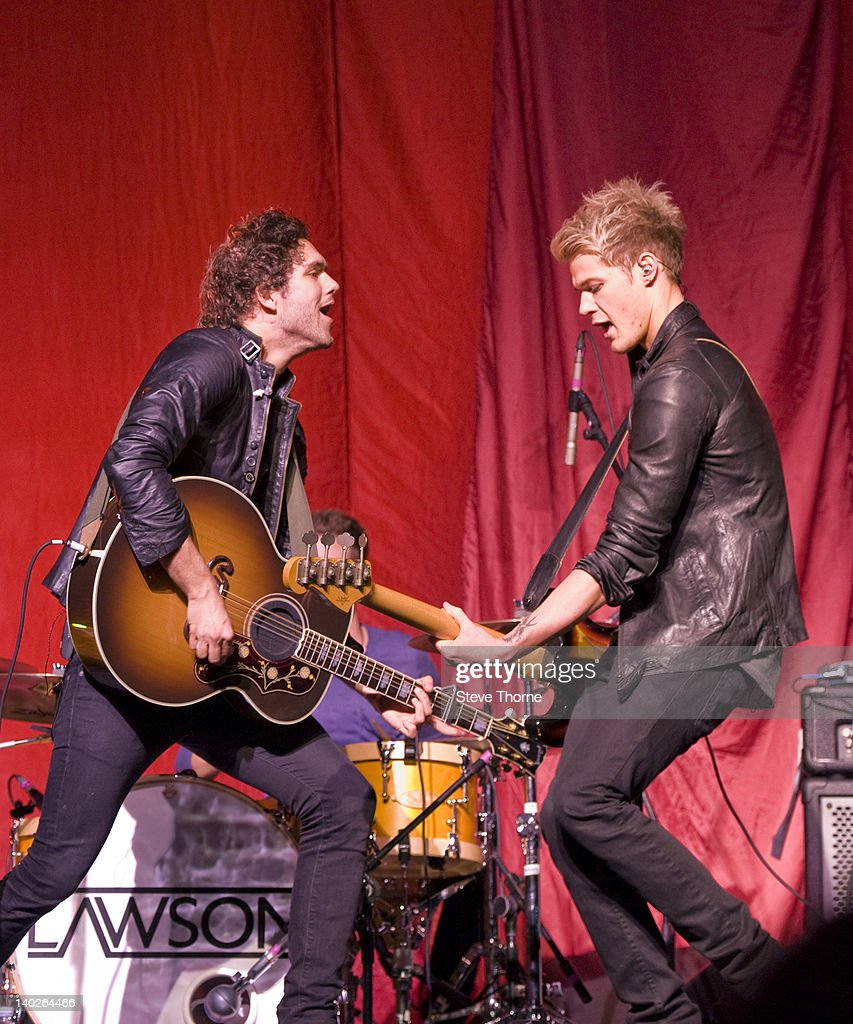 Andy Brown and Ryan Fletcher of Lawson perform on stage at LG Arena on March 1 2012 in Birmingham United Kingdom