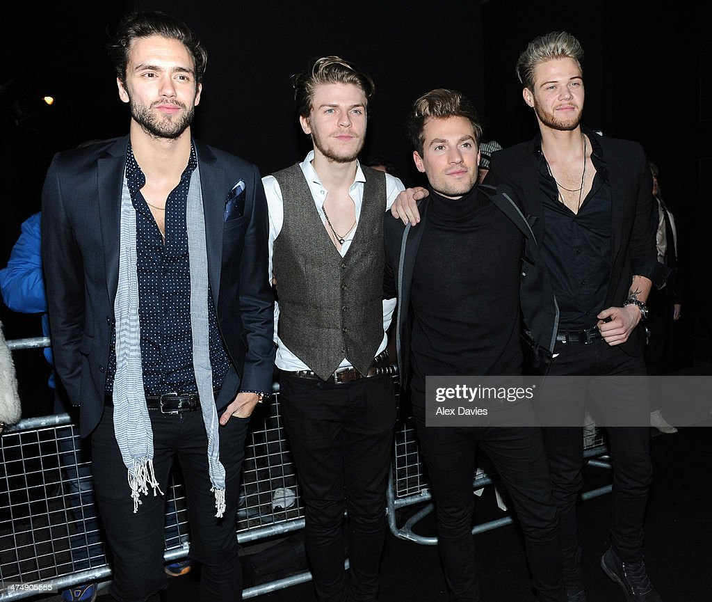 Andy Brown, Joel Peat, Adam Pitts and Ryan Fletcher of Lawson sighting during the BRIT awards on February 19, 2014 in London, England.