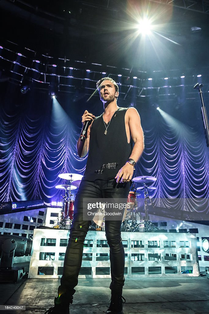 Andy Brown of Lawson performs on stage at The Roundhouse on October 12, 2013 in London, England.