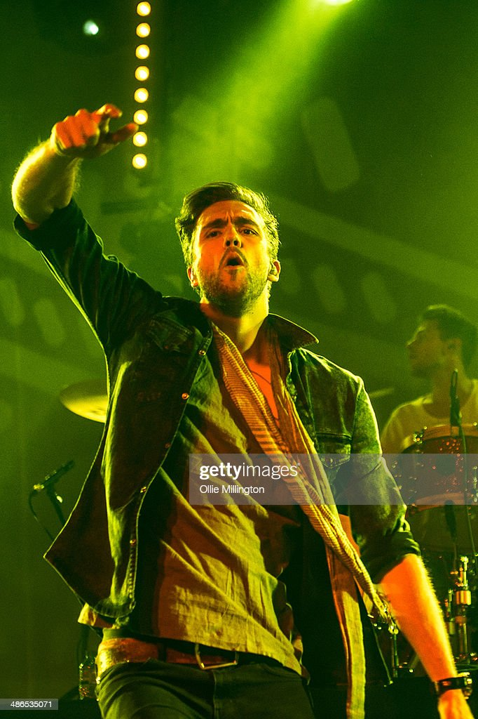 Andy Brown of Lawson performs on stage during the music event OMG Live at LG Arena on April 24 2014 in Birmingham United Kingdom