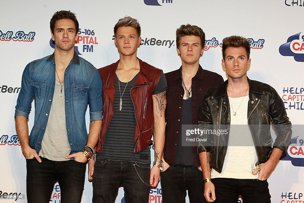 Andy Brown, Ryan Fletcher, <a gi-track='captionPersonalityLinkClicked' href=/galleries/search?phrase=Joel+Peat&family=editorial&specificpeople=7078660 ng-click='$event.stopPropagation()'>Joel Peat</a> and Adam Pitts of Lawson attend the Capital FM Jingle Bell Ball at 02 Arena on December 8, 2012 in London, England.