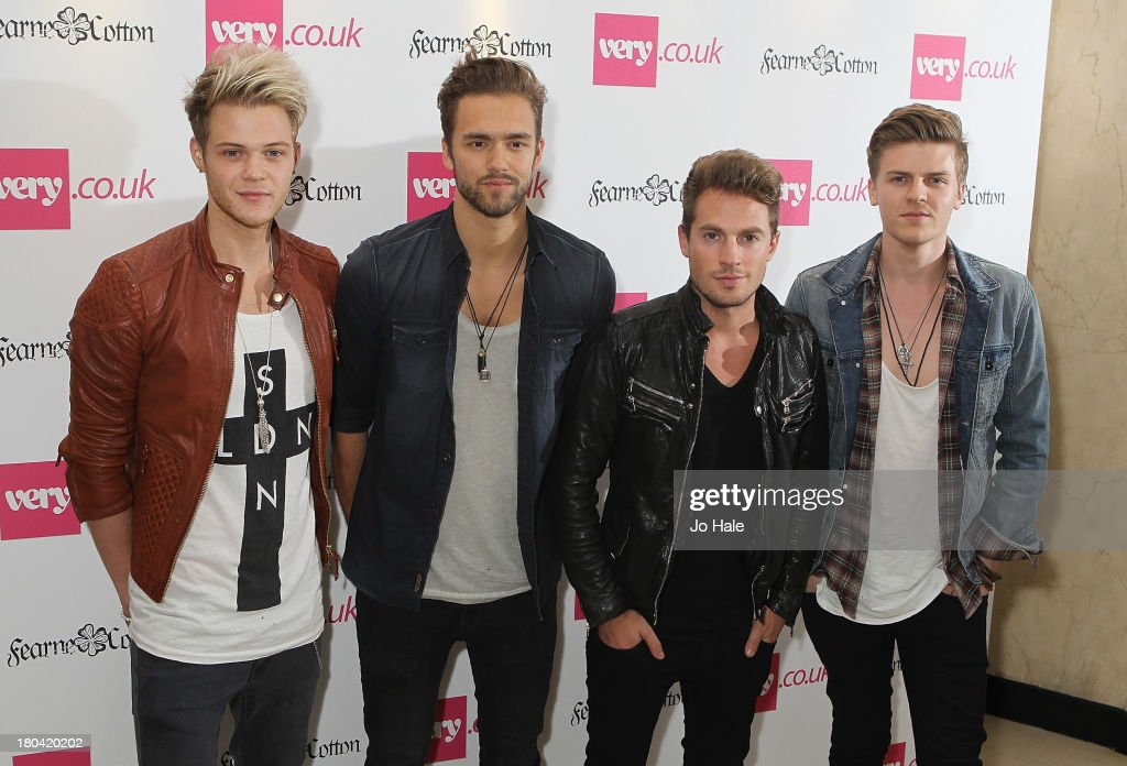 Andy Brown Ryan Fletcher Joel Peat and Adam Pitts of Lawson attend the launch party for the Verycouk SS14 collection at Claridges Hotel on September...