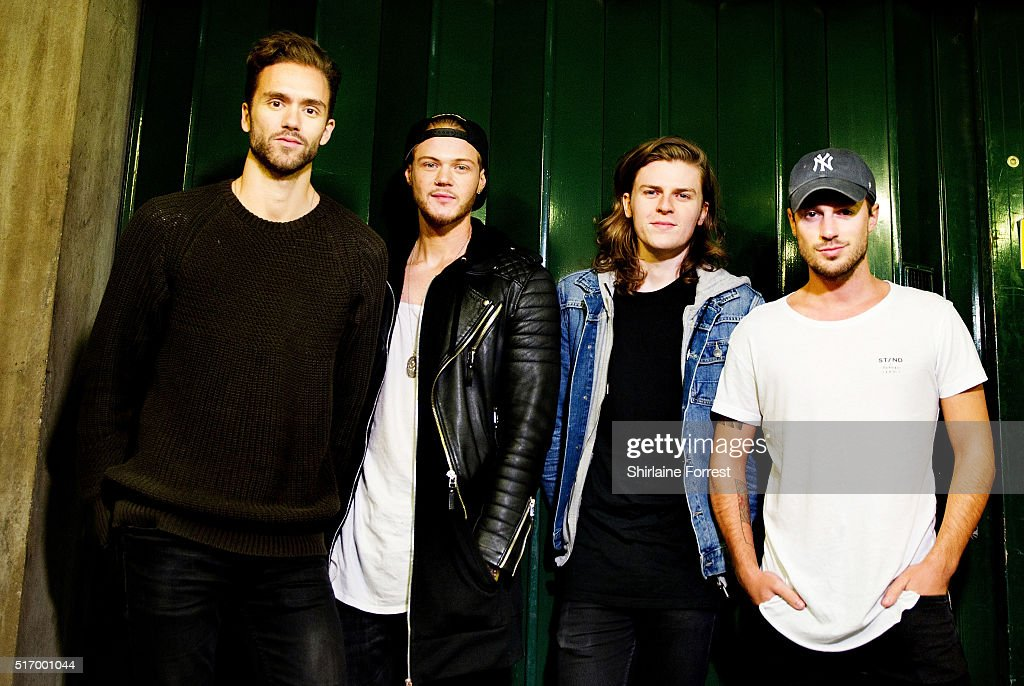Andy Brown Ryan Fletcher Joel Peat and Adam Pitts of Lawson pose backstage before meeting fans and signing copies of their new single 'Money' at HMV...