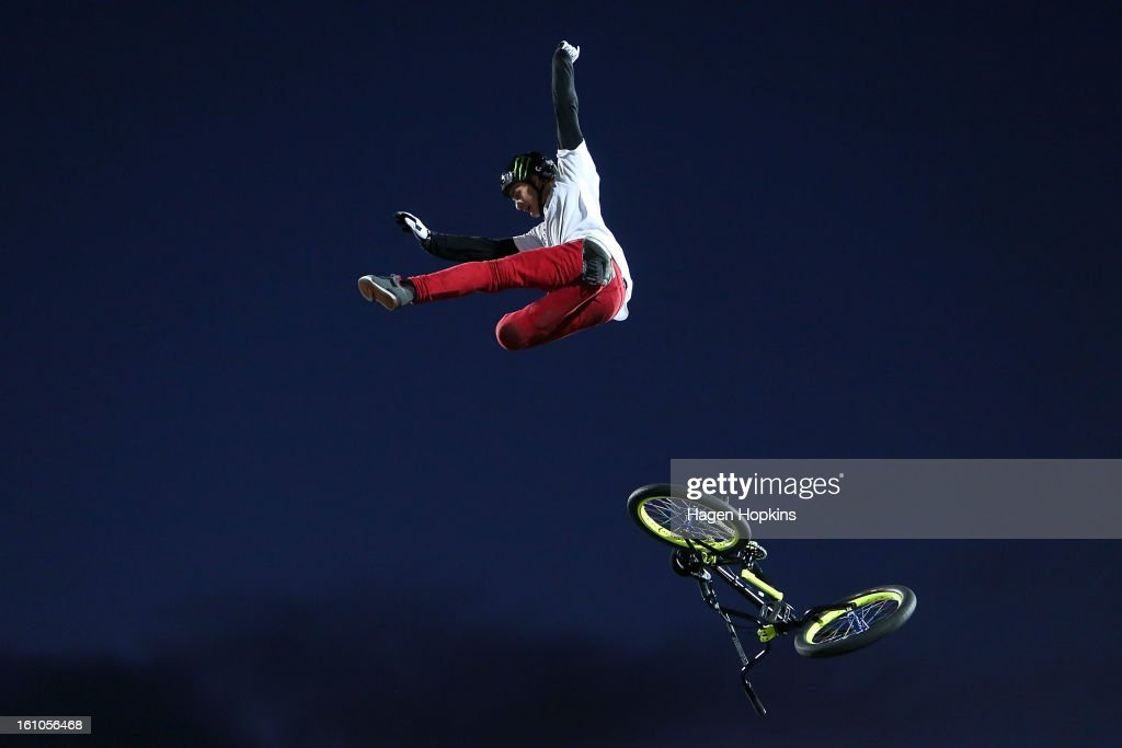 Andy Buckworth looses his bike while performing a trick during Nitro Circus Live at Westpac Stadium on February 9, 2013 in Wellington, New Zealand.