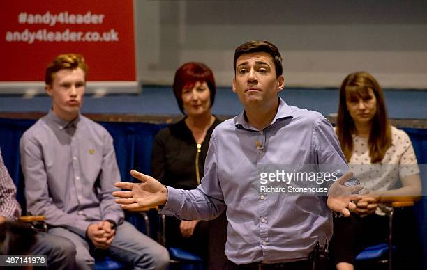 Andy Burnham holds a Labour Leadership campaign event on September 6 2015 in Birmingham England Andy Burnham Yvette Cooper Jeremy Corbyn and Liz...