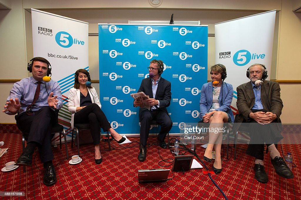 Andy Burnham Liz Kendall Yvette Cooper and Jeremy Corbyn take part in a radio hustings hosted by presenter Nicky Campbell on August 25 2015 in...