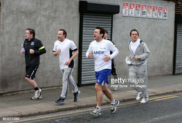 Andy Burnham MP after running from his home in Leigh to Goodison Park as part of his training for the London marathon
