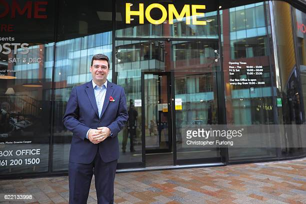 Andy Burnham MP poses for a photo as he speaks at the Labour party's campaign to elect him as Mayor of Greater Manchester at the HOME arts venue on...