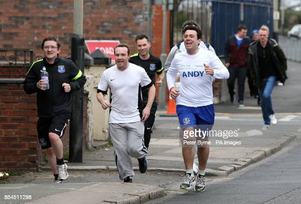 Andy Burnham MP running from his home in Leigh to Goodison Park as part of his training for the London marathon