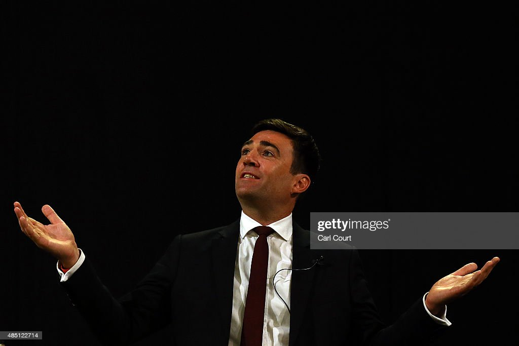 <a gi-track='captionPersonalityLinkClicked' href=/galleries/search?phrase=Andy+Burnham&family=editorial&specificpeople=469823 ng-click='$event.stopPropagation()'>Andy Burnham</a> speaks to supporters at a Labour leadership campaign rally on August 24, 2015 in London, England. Candidates are continuing to campaign for Labour party leadership with polls continuing to place left-winger Jeremy Corbyn in the lead. Voting began on the 14th of August, with the result being announced on the 12th of September.