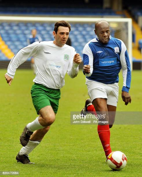 Andy Burnham the Secretary of State for Culture Media Sport in action against expro Luther Blissett for the UK Parliamentary Football team vs a...
