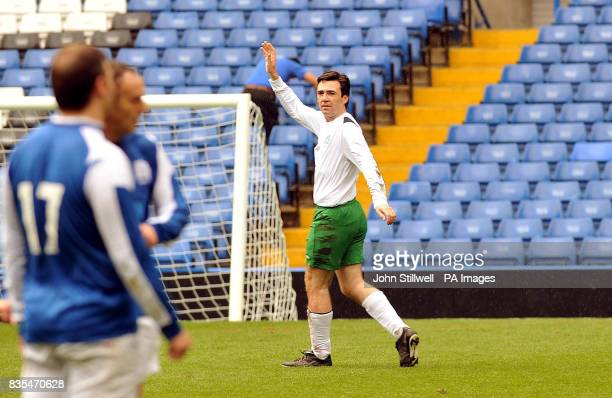 Andy Burnham the Secretary of State for Culture Media Sport celebrates scoring a hattrick for the UK Parliamentary Football team against a sporting...