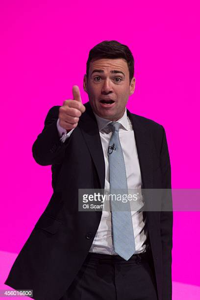 Andy Burnham the Shadow Health Secretary delivers his speech to delegates on the final day of the Labour Party Conference on September 24 2014 in...