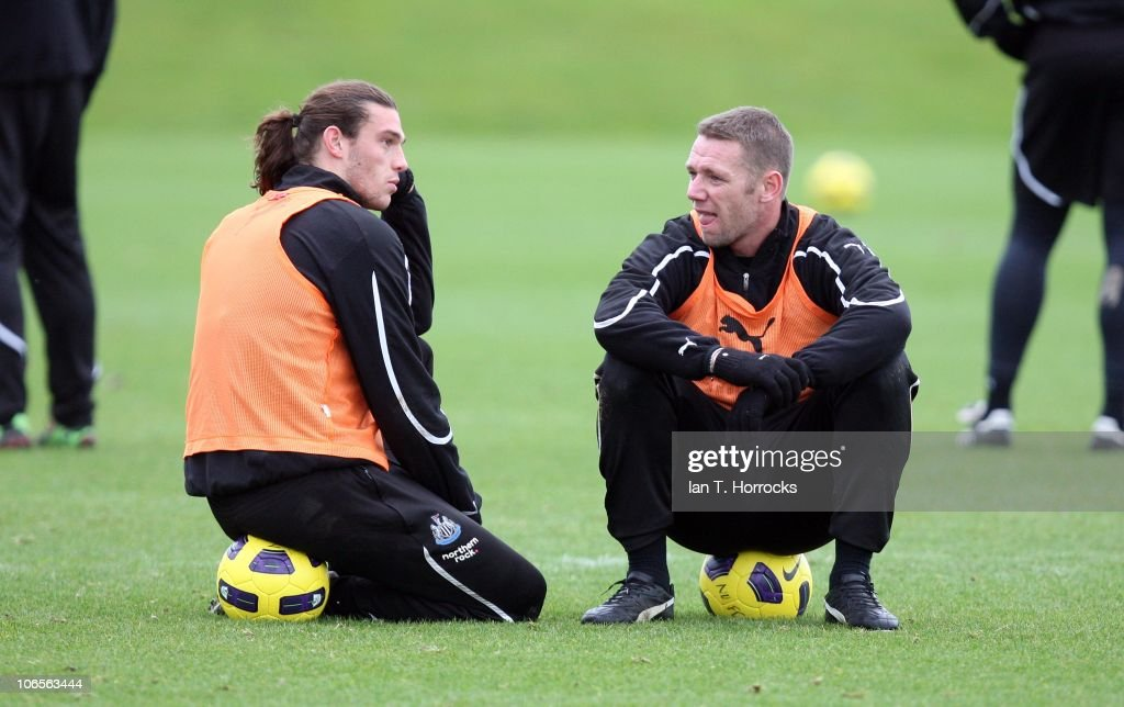 <a gi-track='captionPersonalityLinkClicked' href=/galleries/search?phrase=Andy+Carroll+-+Soccer+Player&family=editorial&specificpeople=1449090 ng-click='$event.stopPropagation()'>Andy Carroll</a> (left) and <a gi-track='captionPersonalityLinkClicked' href=/galleries/search?phrase=Kevin+Nolan&family=editorial&specificpeople=206775 ng-click='$event.stopPropagation()'>Kevin Nolan</a> chat during a Newcastle United training session at the Little Benton training center on November 05, 2010, in Newcastle upon Tyne, England.