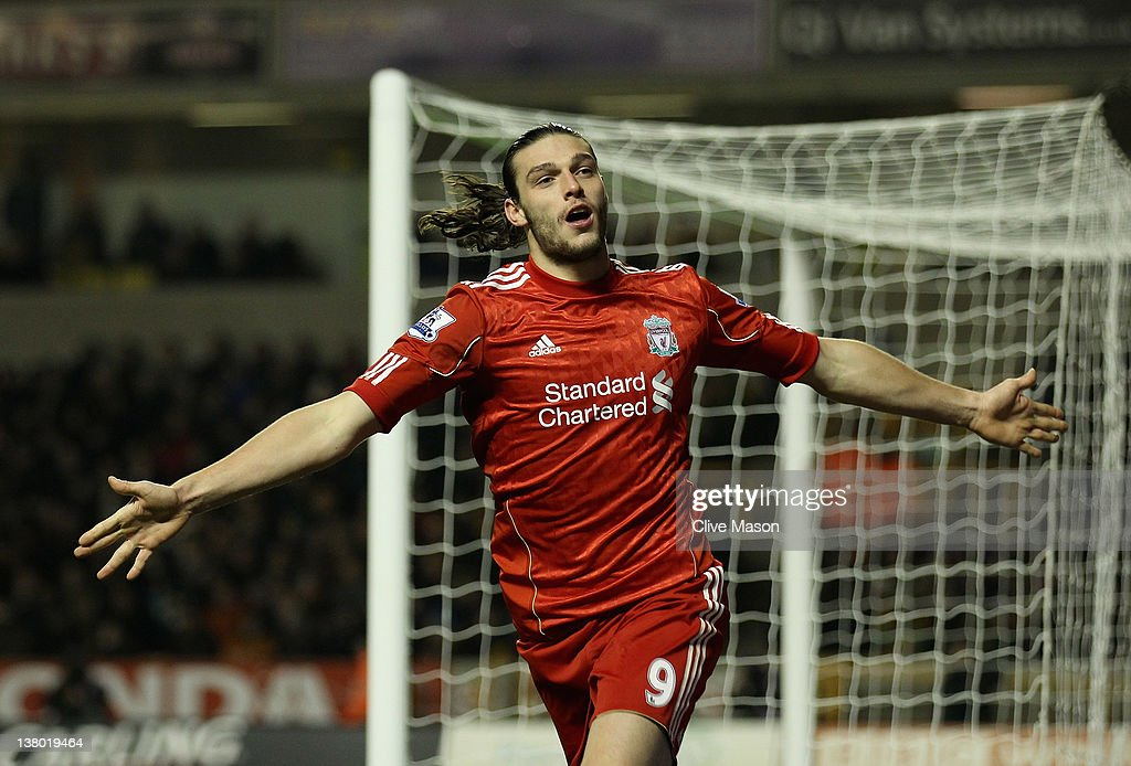 <a gi-track='captionPersonalityLinkClicked' href=/galleries/search?phrase=Andy+Carroll+-+Soccer+Player&family=editorial&specificpeople=1449090 ng-click='$event.stopPropagation()'>Andy Carroll</a> of Liverpool celebrates his goal during the Barclays Premier League match between Wolverhampton Wanderers and Liverpool at Molineux on January 31, 2012 in Wolverhampton, England.