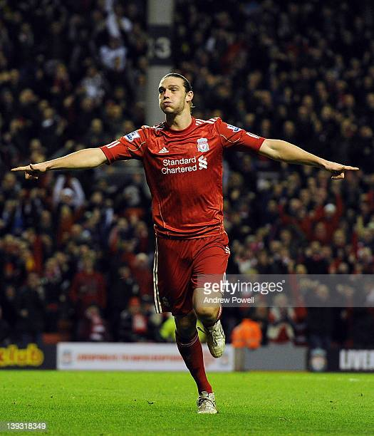 Andy Carroll of Liverpool celebrates his goal during the FA Cup Fifth round match between Liverpool and Brighton and Hove Albion at Anfield on...