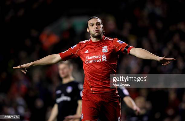 Andy Carroll of Liverpool celebrates scoring his team's fourth goal during the FA Cup 3rd Round match between Liverpool and Oldham Athletic at...