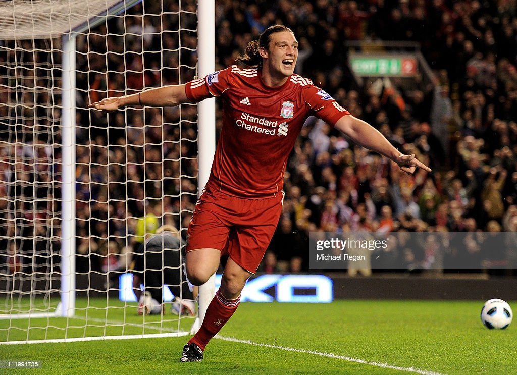 <a gi-track='captionPersonalityLinkClicked' href=/galleries/search?phrase=Andy+Carroll+-+Soccer+Player&family=editorial&specificpeople=1449090 ng-click='$event.stopPropagation()'>Andy Carroll</a> of Liverpool celebrates scoring his team's third goal during the Barclays Premier League match between Liverpool and Manchester City at Anfield on April 11, 2011 in Liverpool, England.