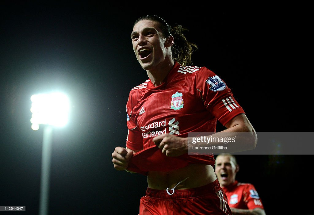 <a gi-track='captionPersonalityLinkClicked' href=/galleries/search?phrase=Andy+Carroll+-+Soccer+Player&family=editorial&specificpeople=1449090 ng-click='$event.stopPropagation()'>Andy Carroll</a> of Liverpool celebrates scoring the winning goal during the Barclays Premier League match between Blackburn Rovers and Liverpool at Ewood park on April 10, 2012 in Blackburn, England.