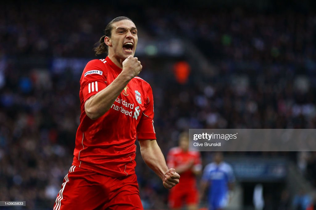 <a gi-track='captionPersonalityLinkClicked' href=/galleries/search?phrase=Andy+Carroll+-+Soccer+Player&family=editorial&specificpeople=1449090 ng-click='$event.stopPropagation()'>Andy Carroll</a> of Liverpool celebrates scoring their first goal during the FA Cup with Budweiser Final match between Liverpool and Chelsea at Wembley Stadium on May 5, 2012 in London, England.