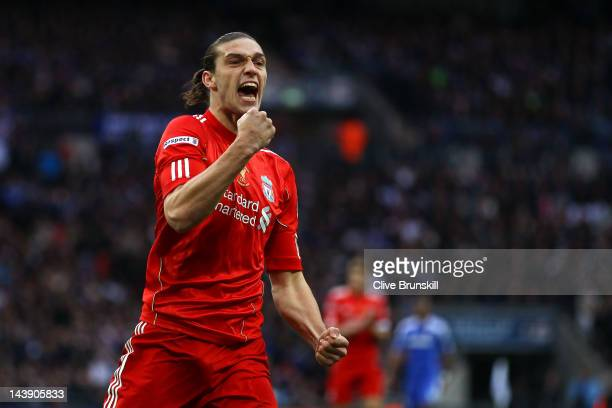 Andy Carroll of Liverpool celebrates scoring their first goal during the FA Cup with Budweiser Final match between Liverpool and Chelsea at Wembley...