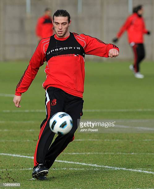 Andy Carroll of Liverpool during a Liverpool training session at Melwood Training Ground on February 11 2011 in Liverpool England
